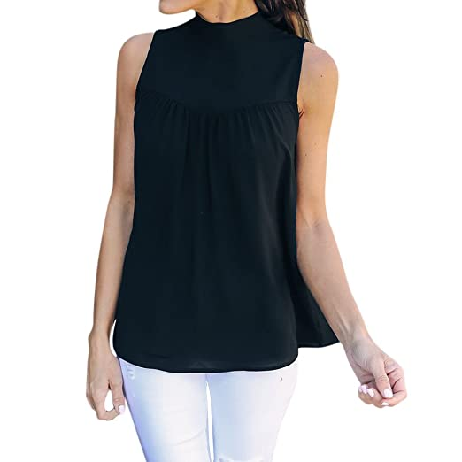 c99a1ef78c1cf8 Birdfly Back Bowknot Chiffon Sleeveless Top Vest Blouse in Pure White &  Black for Women Ladies
