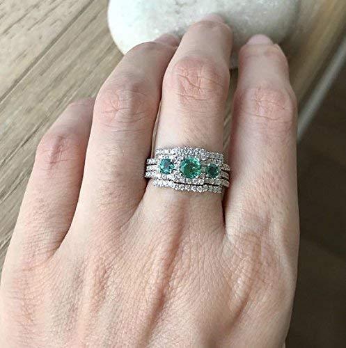 Amazon.com Emerald Engagement Ring Set, Art Deco Wedding