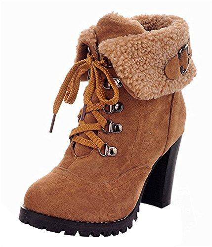 Minetom Herbst Winterschuhe Damen Bequeme High Heels Schuhe Warm Kurzschaft Stiefel Boots Khaki