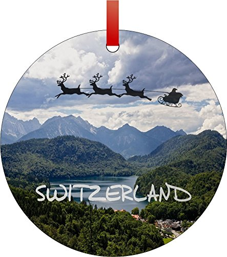 Santa and Sleigh Riding Over The Swiss Alps-Typography-Round Aluminum Christmas Ornament with a Red Satin Ribbon/Holiday Hanging Tree Ornament/Double-Sided Decoration/Great Unisex Holiday Gift! ()