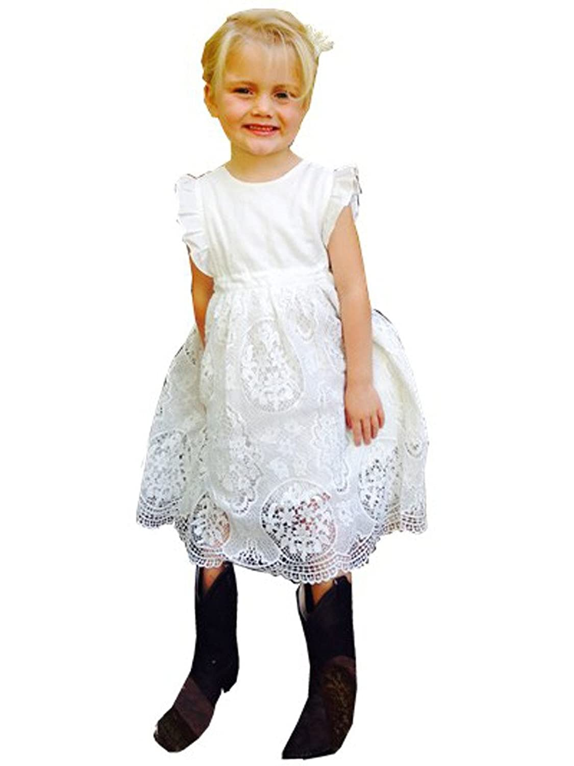 1920s Children Fashions: Girls, Boys, Baby Costumes Bow Dream Flower Girls Dress Vintage Lace $25.99 AT vintagedancer.com