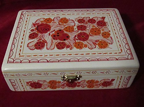 El Relicario de Los Tesoros Olinala Hand Painted Carved Incised Large Rectangular Lacquerware Wooden Jewelry Trinket Stash Box Crafted in Mexico (White-Orange Flowers)
