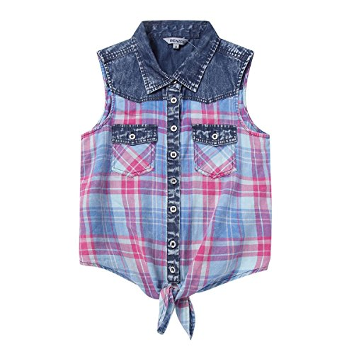 Bienzoe Girl's Plaid Denim Sleeveless Tie Front Blouse Casual Tank Tops Red 7