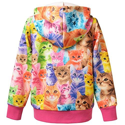 Jxstar Little Girls Cat Jacket Coat Long Sleeve Full Zip Hoodie Outwear Pocket by Jxstar (Image #4)