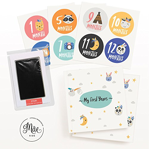 Mae KIDS Baby Memory Book with Clean-Touch Ink Pad & First Years Milestone Stickers - Large Album for Recording Your Babies Photos & Memories - Perfect Baby Shower Keepsake Gift for Boy or Girl