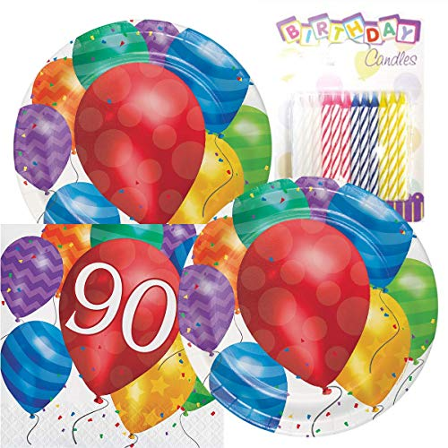 90th Birthday Plates - Balloon Blast Happy Birthday Themed Party