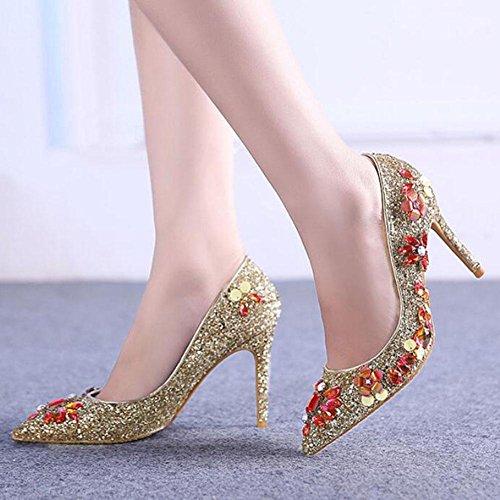 L@YC® Mujer Zapatos De TacóN alto Golden Punta Boca Baja Con Verano Sandalias Vestido De Danza Vestido Yellow