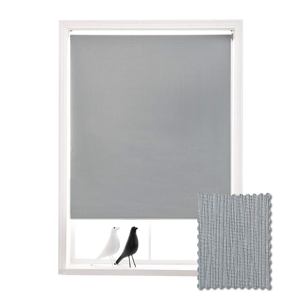 ALLBRIGHT Thermal Insulated UV Protection Striped Jacquard Waterproof 100% Blackout Roller Shades for Windows (33 x 72 inches, Pebble Grey) by ALLBRIGHT
