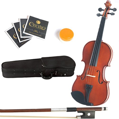 Mendini 14-Inch MA250 Natural Varnish Solid Wood Viola with Case, Bow, Rosin, Bridge and Strings by Mendini