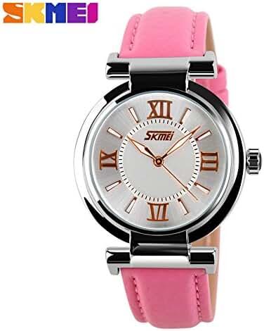 Girl's Fashion Genuine Leather Band Quartz Watch Pink