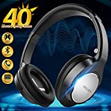 Wireless Bluetooth Headphones with Mic/Microphone, Fordable Over Ear Headphones Wired,Cool On Ear Bluetooth Headphones Sweatproof Hi-Fi Stereo Wireless Headset (Black)