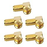VCE (5-Pack) 90 Degree Gold Plated Right Angle F-Type Coaxial RG6 Adapter