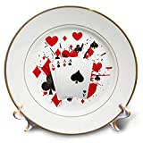 3dRose Sven Herkenrath Game - Illustration of Playing Cards for Casino Game Play Win - 8 inch Porcelain Plate (cp_294242_1)