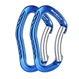 XINDA Nonlocking Climbing Carabiner Clip - Climbing Slings and Quickdraw Set, Straight Gate and Bent Gate Keylock Carabiner for Camping, Rappelling, Mountaineering, Caving (2 Pack Blue Bent Gate)