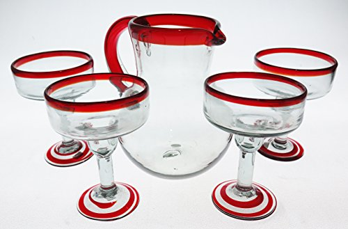 Mexican Margarita Glasses and matching pitcher, Red Rim (set of 5) by Mexican Margarita Glasses
