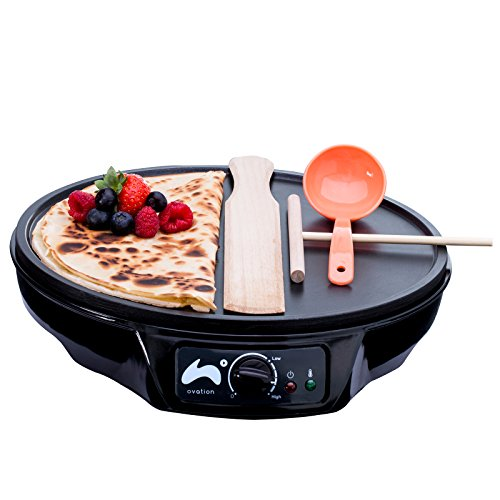 Ovation 1000W Crepe and Pancake Maker with Batter Spreader, Ladle & Spatula