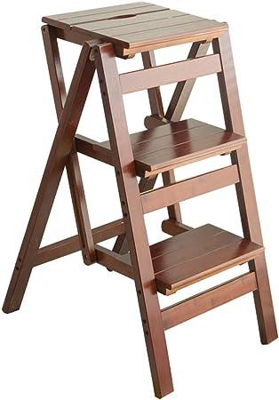 Escaleras Escalera de 3 escalones Piso de Arriba, escalones Plegables en la Cocina, Estilo de Madera - Marrón, Carga máxima 130 kg: Amazon.es: Hogar