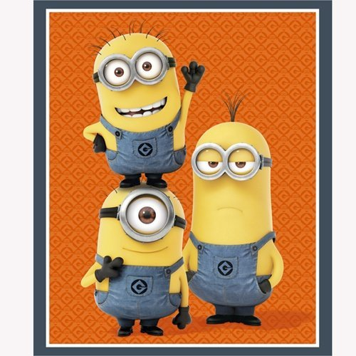 1 in the Minion Panel Cotton Print Kevin Stuart Bob Orange-minion Trio Panel