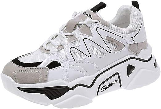 SHOES-HY Zapatos Casuales para Mujer Zapatillas de Tenis para Caminar sin Cordones Gimnasio Ligero Jogging Sports Athletic Running Sneakers,Blanco,38: Amazon.es: Jardín