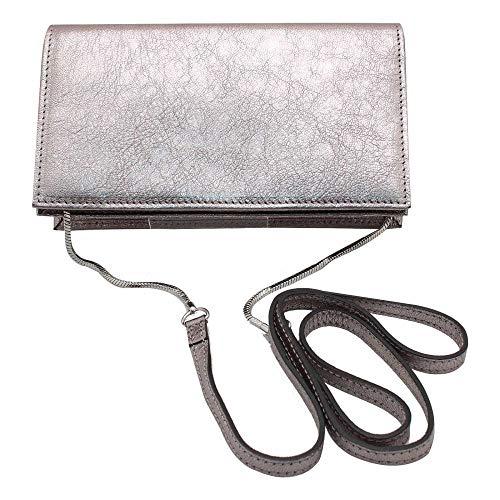 Handbag Leather Metallic Evening Clutch Pewter Abro w6IBqxCwU