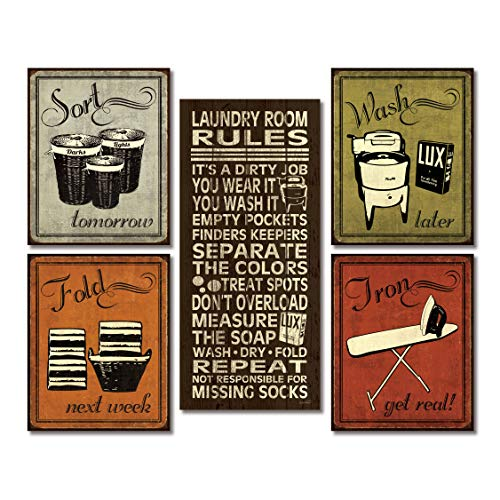 Gango Home Decor Trendy & Extremely Popular Humorous Laundry Room Rules and Laundry Sign Posters; One 8x18in Poster Prints and Four 8x10in Poster Prints