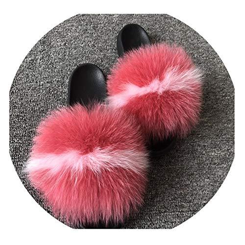 2019 Women's Plush Fox Hair Fluffy Slippers Women's Fur Slippers,Fox Hair,8.5 (Vt Burlington Stores In)