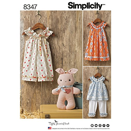 Simplicity 8347 Toddlers' Dress, Top, Knit Capris, and Stuffed Bunny (SIZE 1/2-4) SEWING (Knit Ruffle Pattern)