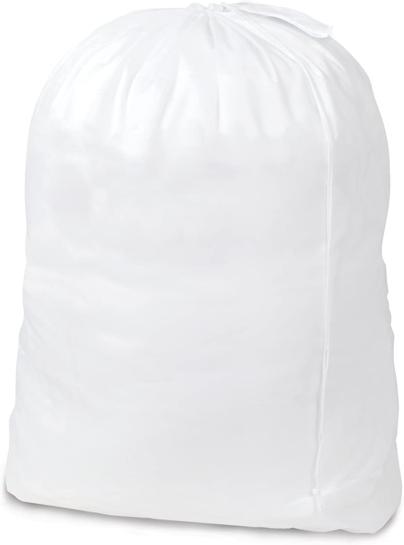 Smart Design Jumbo Laundry Bag w/Carry Handle & Push Lock Drawstring - Durable Polyester Nylon Material - for Clothes & Laundry - Home Organization (Holds 3 Loads) (40 x 30 Inch) [White]