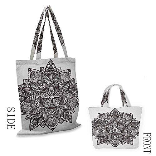 "folding shopping bag LotusEthnic Paisley Mandala Tribal Oriental Style Vintage Tattoo Artistic Pattern Seal Brown White18""W x 16""H"