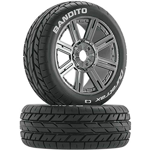 DuraTrax Bandito 1:8 Scale RC Buggy Tires with Foam Inserts, C3 Super Soft Compound, Mounted on Black Chrome Wheels (Set of 2) ()