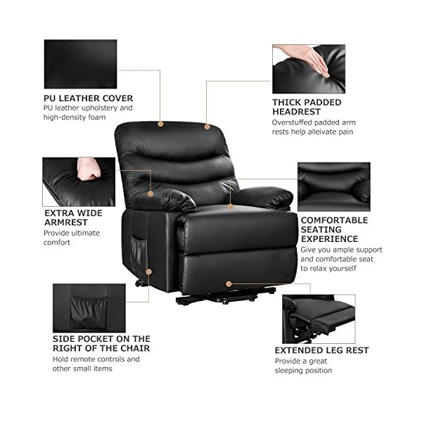 Peachy Merax Power Recliner And Lift Chair In Black Pu Leather Lift Recliner Chair Heavy Duty Steel Reclining Mechanism Gmtry Best Dining Table And Chair Ideas Images Gmtryco