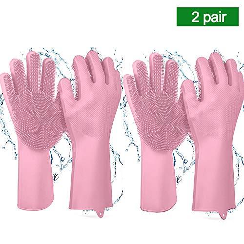 Magic Saksak Reusable Silicone Cleaning Gloves Dishwashing Scrubber, Dish Wash Scrubbing Sponge Gloves with Bristles, Great for Washing Dish, Kitchen, Car, Bathroom, Pet Hair Care/Pink/2 ()