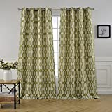MYSKY HOME Lined Jacquard Room Darkening Curtains for Bedroom, 52 by 84 inch, Green (1 Panel) For Sale