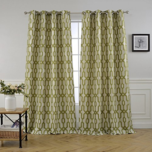 MYSKY HOME Lined Jacquard Room Darkening Curtains for Bedroom, 52 by 95 inch, Green (1 Panel) 95 Green