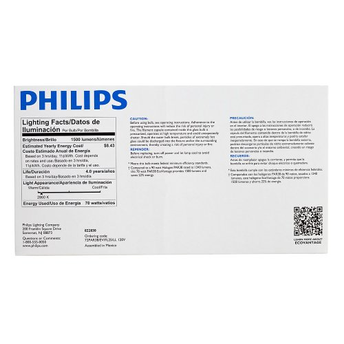 Philips 430421 Halogen PAR38 90 Watt Equivalent Dimmable Flood Standard Base Light Bulb, Long Life 2-Pack by Philips (Image #4)