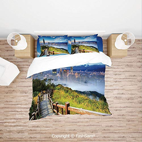 (FashSam 4 Piece Bedding Sets Breathable Beautiful Scenery of a City Cosmopolitan Life and Nature with Bridge Print for)