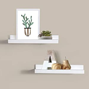 AHDECOR Picture Ledge Shelf White Wall Mounted Floating Shelves Display Storage Ledge for Home Kitchen Office Decoration, 15 inch, 2-Pack