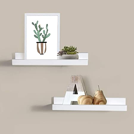 Strange Ahdecor Picture Ledge Shelves White 2 Set Mdf Floating Shelves Ledge For Picture Frames And Books 40 X 10 Cm Download Free Architecture Designs Embacsunscenecom