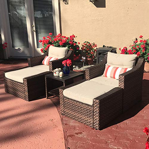 SUNSITT Outdoor Furniture Sofa Set 5-Piece Brown Wicker Lounge Chair with Ottoman Set, Neutral Beige Cushions & Side Table w/Aluminum Top