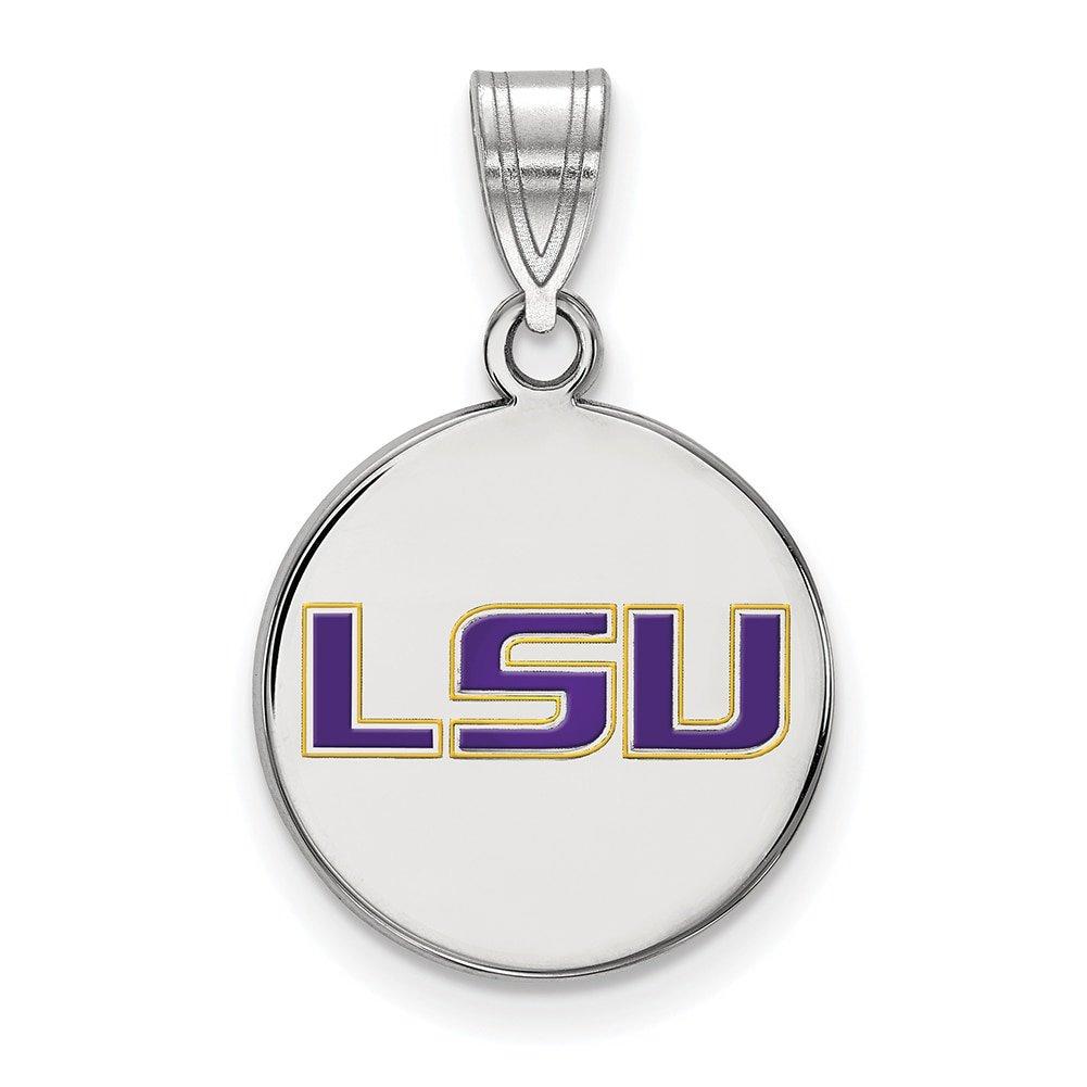 Lex /& Lu LogoArt Sterling Silver Louisiana State University Medium Enamel Disc Penda