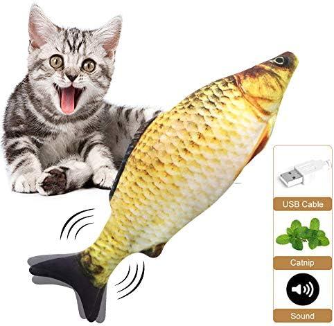 Mroobest Cataire Jouets Poisson, Cataire Chat Jouets, Jouet en Peluche Catnip, USB Cataire Poisson Rechargeable Jouet de Poisson de poupée électrique interactifs pour Chat/Kitty/Chaton