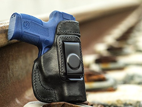 OutBags USA LS2MILX (BLACK-RIGHT) Full Grain Heavy Leather IWB Conceal Carry Gun Holster for Taurus Millennium PT111 9mm PT140 .40 & PT145 .45 ACP with Crimson Trace Laser. Handcrafted in USA.
