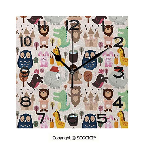 (Frameless Clock 3D DIY Decorative Clock Giraffe Crocodile Teddy Bear Elephant Bird Cartoon Toy Animals Castle Comic Decorative 8 Inch Large Size Square Wall Clock for Living Room Bedroom Office Hotel)
