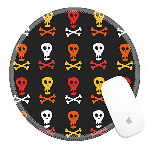 Luxlady Round Gaming Mousepad 38633472 skull and crossbones pattern (Halloween Fright Nights Logo)