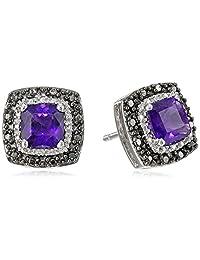 Sterling Silver Black and White Diamond Gemstone Earrings