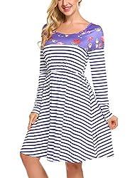 Se Miu Womens Floral Print Striped Casual Long Sleeve T Shirt Waist Midi Dress