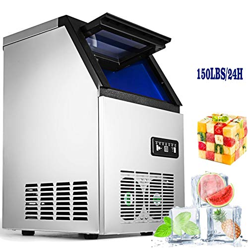 (VEVOR 110V Commercial Ice Maker 300W Stainless Steel Ice Cube Maker Machine 150LBs Ice Making Machine for Home Supermarkets Cafes Bakeries Bars Restaurants Snack Bars (Production 150lbs/24h))