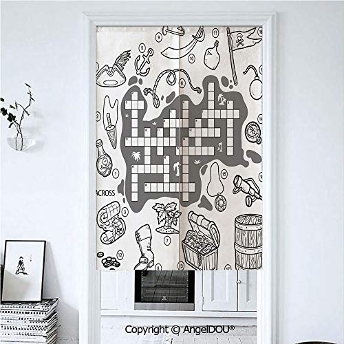AngelDOU Word Search Puzzle Cotton Linen Printed Customized Doorway Curtain Colorless Pirates Themed Educational Puzzle Treasure Map and Icons Privacy Drape Valance and Decoration. 33.5x59 inches -