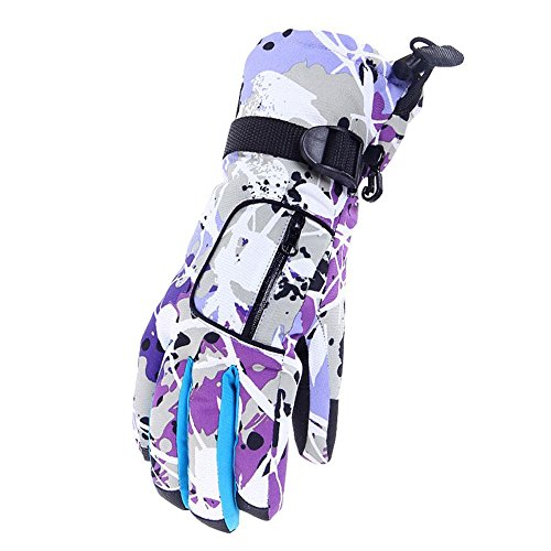 niceEshop(TM) Waterproof Skiing Gloves, Winter Gloves Warm Insulated Windproof Breathable Insulated Mittens, for Women Kids Ladies Outdoor Snowboard/ Snowmobile/ Shoveling/ Cycling/ Motorcycle (Purple