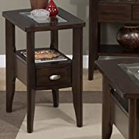 Jofran Montego Merlot Chairside Table in Birch Veneers